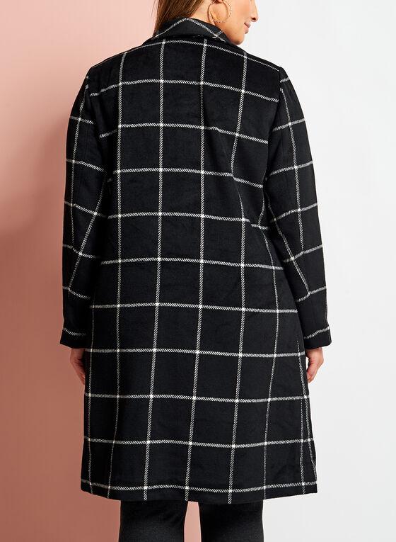 Manteau à carreaux ouvert en cascade, Noir, hi-res