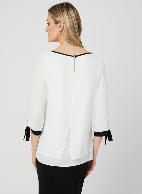 Contrast Trim ¾ Sleeve Blouse, Off White, hi-res