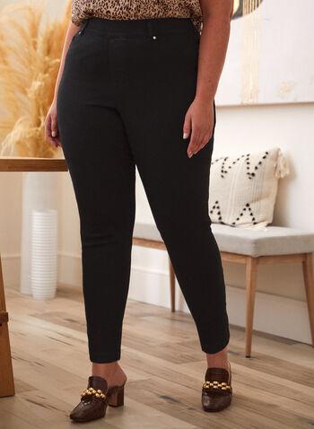 Jean à enfiler à jambe étroite, Noir,  pantalon, jeans, à enfiler, jambe étroite, ganses pour ceinture, poches, rivets métalliques, denim extensible, basique, automne 2021