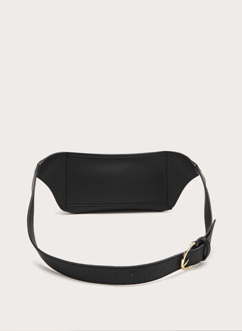 Leather-Like Belt Bag, Black, hi-res