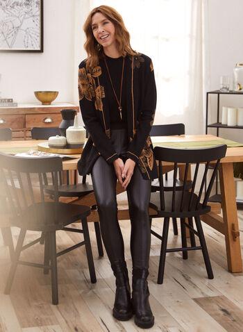 Cardigan long à imprimé floral, Noir,  automne hiver 2020, cardigan, long, liséré, fleurs, floral, imprimé placé, motif, motifs, manches longues