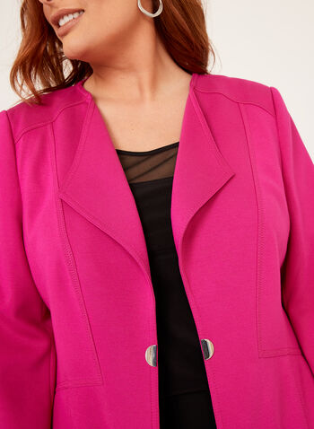 Stitch and Metal Detail Ponte Blazer, Pink, hi-res
