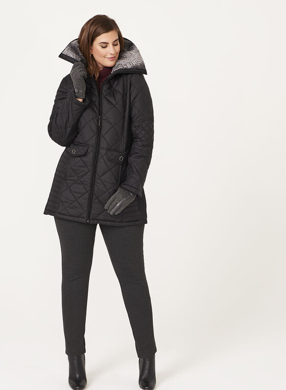 Weatherproof - Diamond Quilted Faux Fur Collar Coat, Black, hi-res