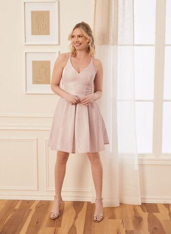 Crisscross Back Glitter Dress, Pink,  dress, prom, party, short, glitter, crisscross, pockets, crinoline, v-neck, spring summer 2021