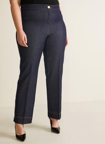Pantalon coupe moderne aspect denim, Bleu,  pantalon, moderne, aspect denim, pinces, jambe droite, printemps été 2020