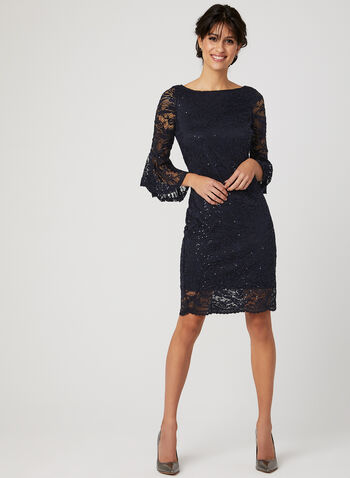 Sequin Lace Angel Sleeve Dress, Blue, hi-res