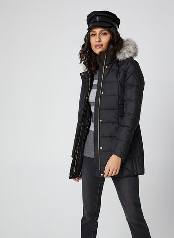 Anne Klein - Faux Fur Down Coat, Black,  coat, faux fur hood, down, knit, quilted, anne klein, fall winter 2019