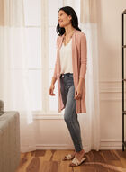 Long Open Front Cardigan, Pink