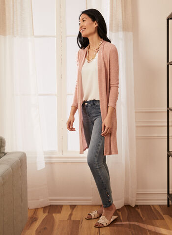 Long Open Front Cardigan, Pink,  spring summer 2021, knit, cardigan, sweater, made in canada, buttons at wrist