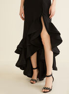Sleeveless Flounce Detail Dress, Black
