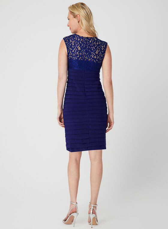 Illusion Lace Shutter Dress, Blue