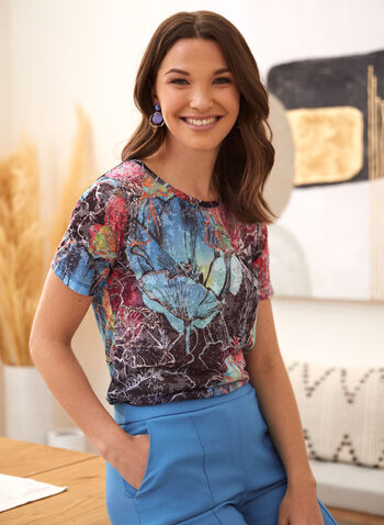 Abstract Floral Print Burnout Tee, Blue,  spring summer 2021, made in Canada, Alison Sheri, scoop neck, short sleeve, top, tee, t-shirt, t shirt, floral print, abstract print, burnout, cotton blend