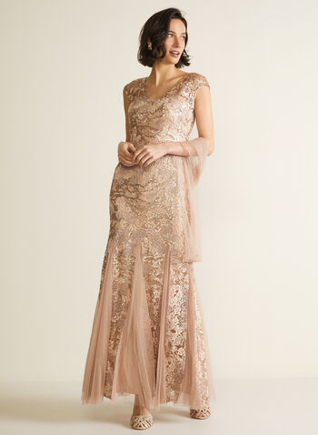 Alex - Robe sirène à paillettes avec châle , Rose,  robe, robe chic, robe de soirée, paillettes, coupe sirène, châle, automne hiver 2020, 2 pièces, dentelle, mailles, godets, sequins,