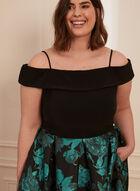 Off-The-Shoulder Floral Print Dress, Black