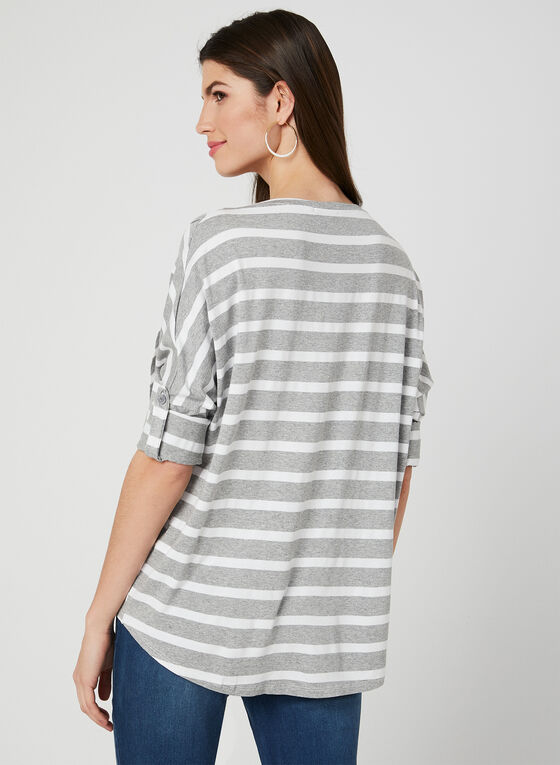 M Made in Italy - Stripe Print Asymmetric Top, Grey, hi-res