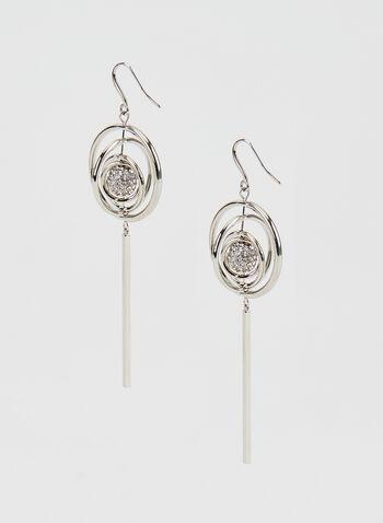 Geometric Pendant Dangle Earrings, Silver, hi-res