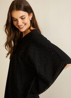 Embellished Poncho Sweater, Black