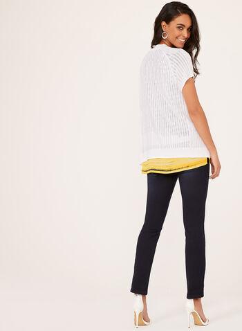 Cardigan à manches courtes en tricot pointelle, Blanc, hi-res