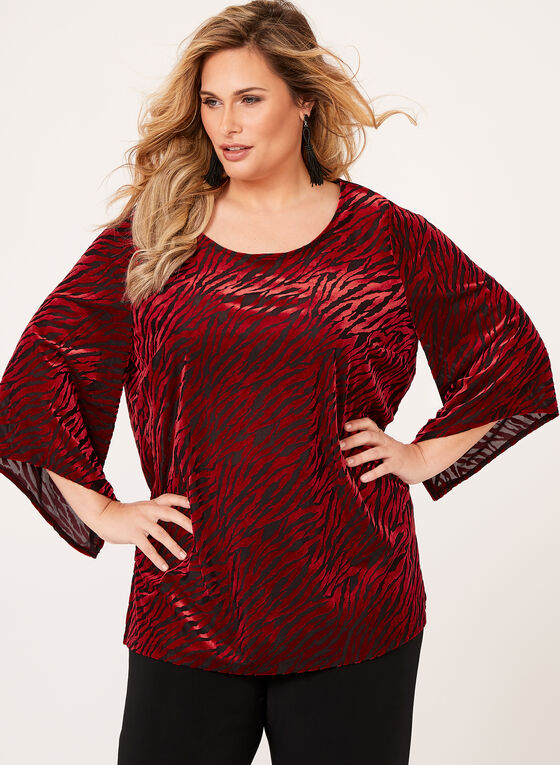 Animal Print Velvet Top, Red, hi-res