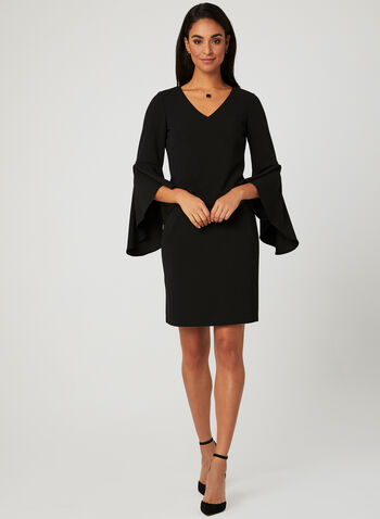 Bell Sleeve Dress, Black, hi-res