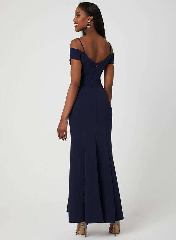Off-the-Shoulder Crepe Dress, Blue