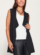 Cascade Front Sleeveless Knit Vest, Grey, hi-res