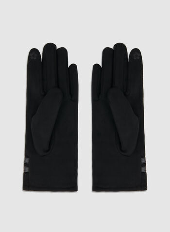 Fake Suede Pearl Gloves, Black,  fake suede, pearl, gloves. fall 2019, winter 2019