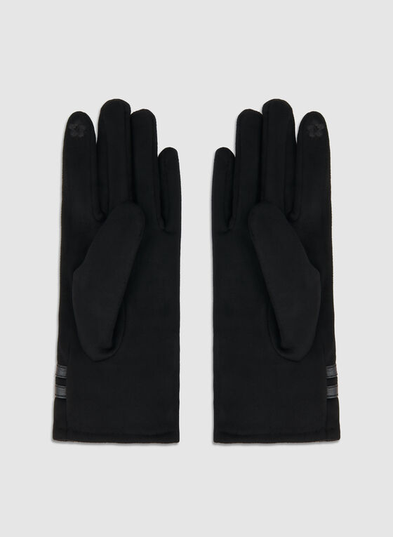Fake Suede Pearl Gloves, Black