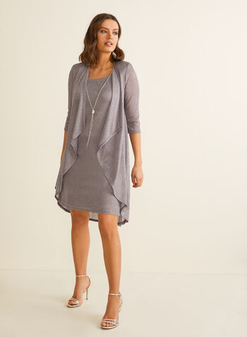 Metallic Dress & Cardigan Set, Silver,  set, ensemble, dress, cardigan, metallic, open front, cascade, chain, necklace, 3/4 sleeves, sleeveless, shoulder pads, spring summer 2020