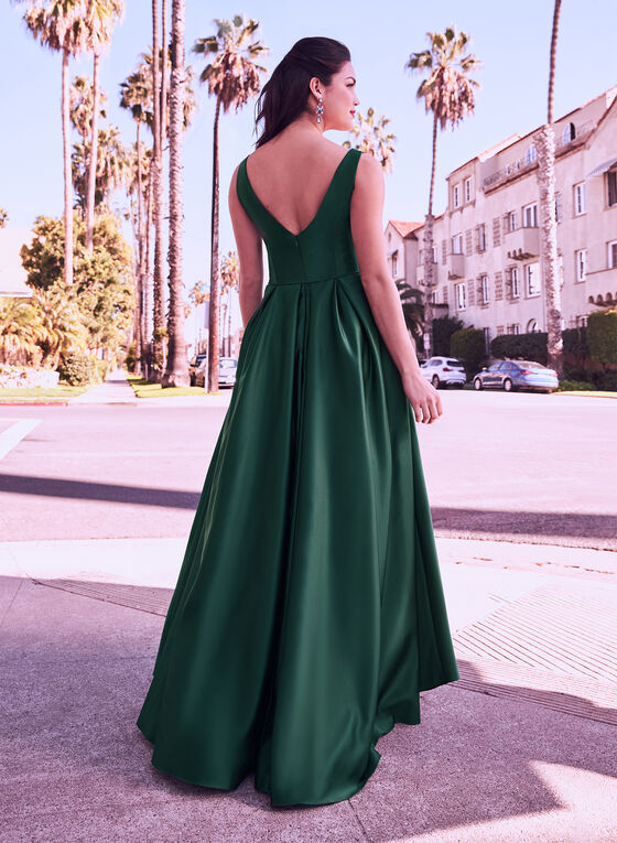 V-Neck Satin Ball Gown, Green, hi-res