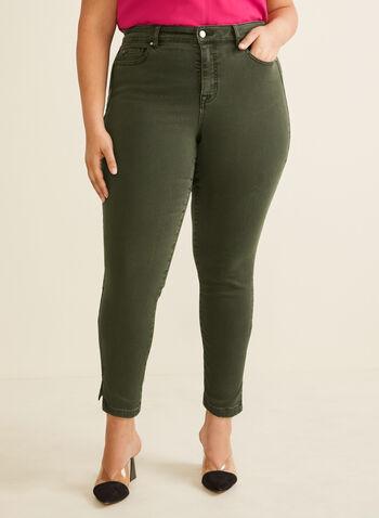 Jeans à jambe étroite  longueur cheville, Vert,  jeans, denim, jambe étroite, cheville, poches, printemps été 2020