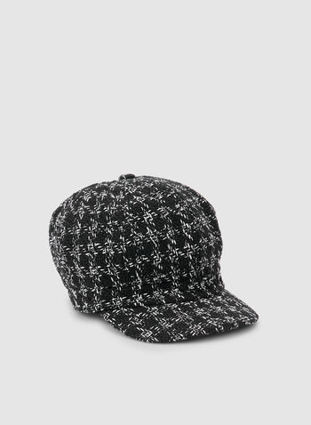Tweed Cap, Black,  tweed, plaid print, tartan, pageboy, fall 2019, winter 2019