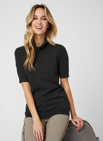 Short Sleeve Knit Top, Grey,  knit, top, short sleeves, cowl neck, fall 2019, winter 2019