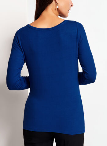Long Sleeve Scoop Neck Top, Blue, hi-res