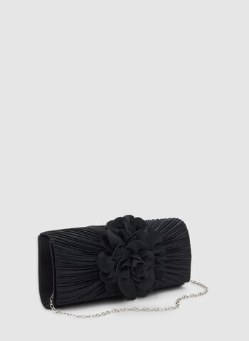 Satin Clutch With Flower Detailing , Blue,  clutch, flower, flower clutch, satin clutch, pleats, winter 2019, fall 2019