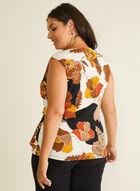 Floral Print Drape Detail Top, Black