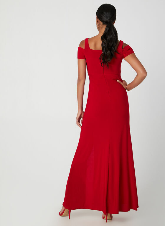 Robe à épaules ajourées , Rouge
