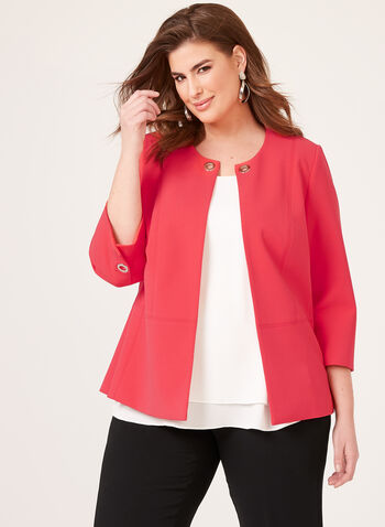 ¾ Sleeve Crepe Jacket, Pink, hi-res