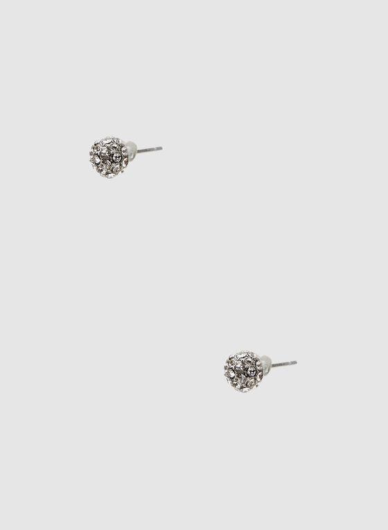 Crystal Cluster Stud Earrings, Silver