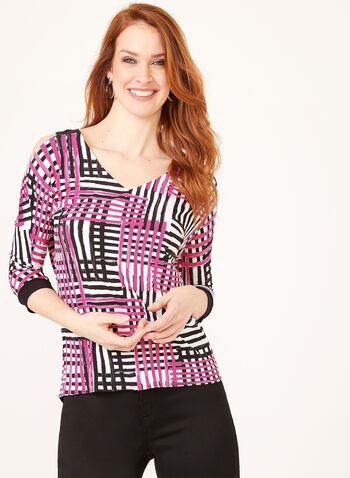 Plaid Print Cold Shoulder Tunic , Multi, hi-res