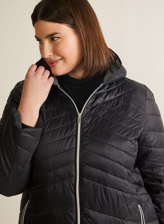 Manteau matelassé motif chevrons, Noir