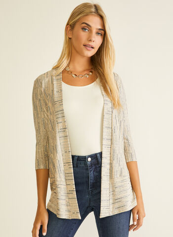 Open Front Jacquard Top, White,  top, open front, jacquard, 3/4 sleeves, spring summer 2020
