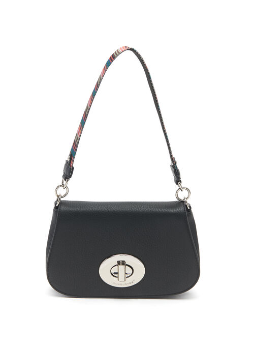 Turn Lock Crossbody Bag, Black, hi-res