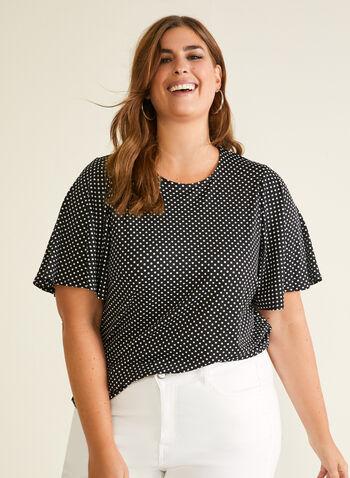 Polka Dot Print Top, Black,  top, polka dot, short sleeves, ruffled, spring summer 2020