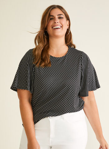 Chapter One - Polka Dot Print Top, Black,  top, polka dot, short sleeves, ruffled, spring summer 2020