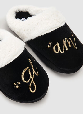 Ellen Tracy - Embroidered Velour Slippers, Black, hi-res