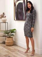 Long Sleeve Abstract Print Dress, Black