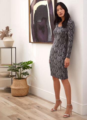 Long Sleeve Abstract Print Dress, Black,  fall winter 2020, shimmer, long sleeve, scoop neck. abstract print, made in Canada, detachable shoulder, dress, dresses, holiday, holiday 2020, lurex,