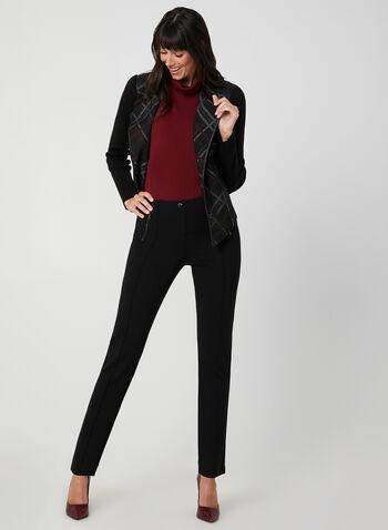 Blazer ouvert à motif tartan, Noir, hi-res,  blazer, tartan, ouvert, zip, tricot, manches longues, similicuir, automne hiver 2019