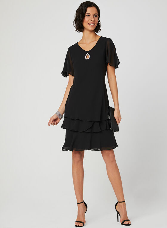 Chiffon Shift Dress, Black, hi-res
